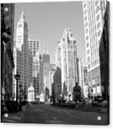 Michigan Ave Wide B-w Acrylic Print