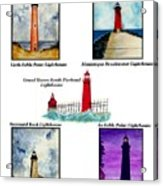 Michigan Lighthouses Montage Acrylic Print