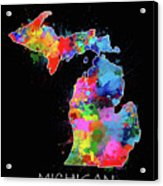 Michigan Map Color Splatter 2 Acrylic Print