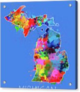 Michigan Map Color Splatter 3 Acrylic Print