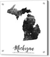 Michigan State Map Art - Grunge Silhouette Acrylic Print