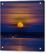 Michigan Super Moon Over Muskegon Lake Acrylic Print