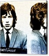Mick Jagger Mugshot Acrylic Print by Bill Cannon
