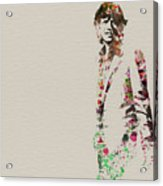 Mick Jagger Watercolor Acrylic Print by Naxart Studio
