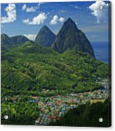 Midday- Pitons- St Lucia Acrylic Print by Chester Williams