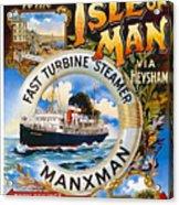 Midland Railway, Steam Boat, Isle Of Man, Poster Acrylic Print