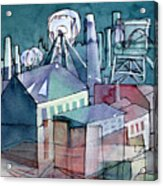 Midnight Colliery Original Watercolour Painting Acrylic Print