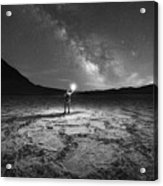 Midnight Explorer At Badwater Basin Bw Acrylic Print