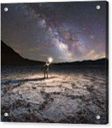 Midnight Explorer At Badwater Basin  Acrylic Print