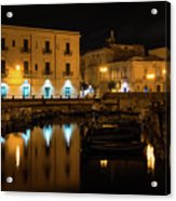 Midnight Silence And Solitude - Syracuse Sicily Illuminated Waterfront Acrylic Print