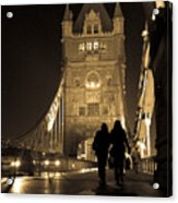 Midnight Stroll over the Bridge Acrylic Print