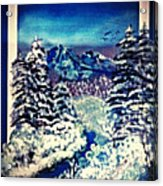 Midnight Winter Mountain Acrylic Print
