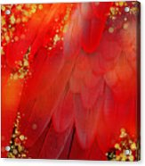 Midsummer Magik Fantasy Abstract Red Feathers, Gold Sparkles Acrylic Print