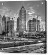 Midtown Atlanta Dusk B W Atlanta Construction Art Acrylic Print