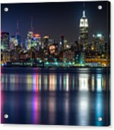 Midtown Manhattan From Jersey City At Night Acrylic Print by Val Black Russian Tourchin