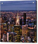 Midtown Skyline At Dusk Acrylic Print by Randy Aveille