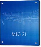 Mig 21 Blueprint Acrylic Print