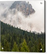 Mighty Dolomite Peaking Through The Clouds Acrylic Print