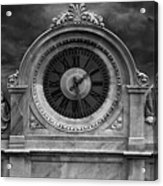 Milan Clock In Black And White Acrylic Print
