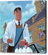 Milkman On Daily Milk Delivery In Urban Old Street Acrylic Print