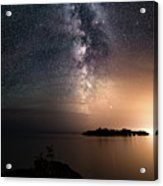 Milky Way Over Mary Island From Silver Harbour Near Thunder Bay Acrylic Print