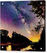Milky Way Over The Saco River Maine  Acrylic Print