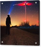 Milky Way Over The Wind Turbine Acrylic Print