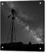 Milky Way Windmill Bw Acrylic Print