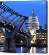Millennium Bridge And St Pauls Cathedral Acrylic Print