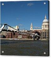 Millennium Bridge And St Pauls Acrylic Print