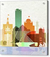 Milwaukee Skyline Color Acrylic Print