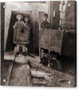 Miners Pushing Ore Carts Acrylic Print by Everett