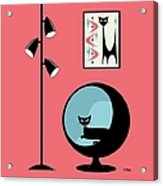 Shower Curtain Mini Atomic Cat On Pink  Acrylic Print