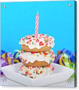 Mini Donut Cake With  Blue Candle By Sheila Fitzgerald Mini Donut Cake With Pink Candle Acrylic Print