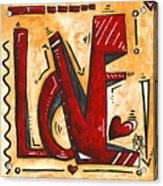 Mini Pop Art Gold Red Love Original Painting By Madart Acrylic Print