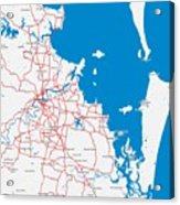 Minimalist Modern Map Of Brisbane, Australia 6 Acrylic Print