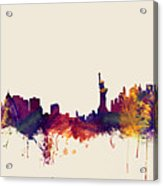 Minneapolis And New York Skylines Mashup Acrylic Print