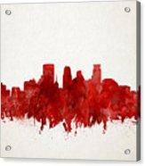 Minneapolis Skyline Watercolor Red Acrylic Print