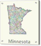 Minnesota Line Art Map Acrylic Print