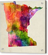 Minnesota State Map 02 Acrylic Print