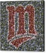 Minnesota Twins Baseball Mosaic Acrylic Print by Paul Van Scott