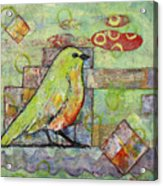 Mint Green Bird Art Acrylic Print by Blenda Studio