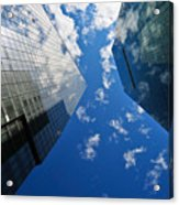 Mirrored Buildings Acrylic Print by Mandy Wiltse