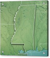 Mississippi State Usa 3d Render Topographic Map Border Acrylic Print