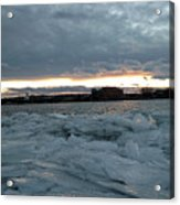 Missouri River Ice Sheet Sunset Acrylic Print