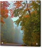 Misty Autumn Road Acrylic Print