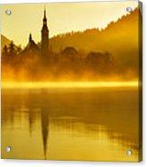 Misty Lake Bled At Sunrise Acrylic Print