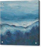 Misty Morning Fog Mount Mansfield Panorama Painting Acrylic Print