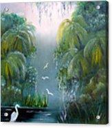 Misty Morning Swamp Acrylic Print