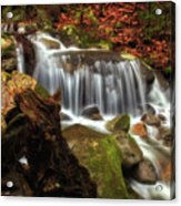 Misty Morning Waterfall Acrylic Print